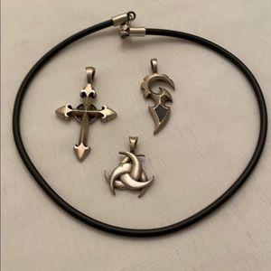 "17.5"" rubber rope chain w/pendants"